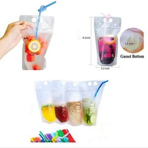 16 Oz. Transparent Hand-held closable Zipper Drinking Pouches Bags with Straw